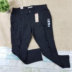 Levi's Black 711 Distressed Skinny Jeans Plus Size